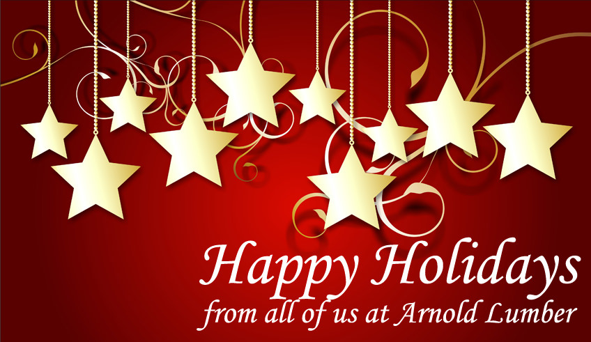 Happy Holidays from Arnold Lumber, Stars and Ribbons Image