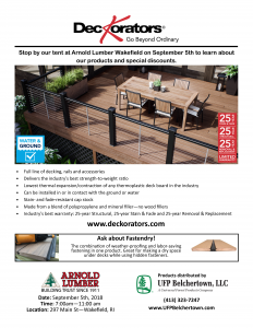 Deckorators - Tent Event @ Arnold Lumber - Wakefield Branch | South Kingstown | Rhode Island | United States