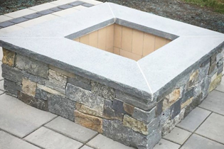 Photo of fire pit with veneer