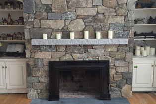 Photo of stone veneer chimney