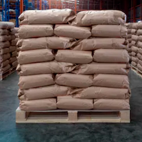 pallet with bulk produt in bags